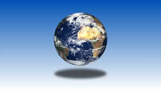 Global 0602: The planet Earth rotates in front of a blue background (Loop).
