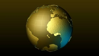 Global 0606: A textured, transparent golden yellow planet Earth rotates (Loop).