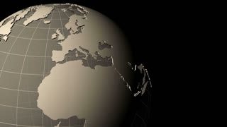 Global 0607: A transparent gray earth rotates against a black background (Loop).