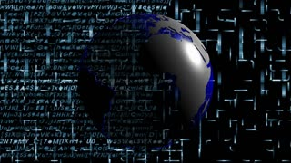 Global 0609: A deep blue Earth globe rotates in front of a falling digital data curtain (Loop).