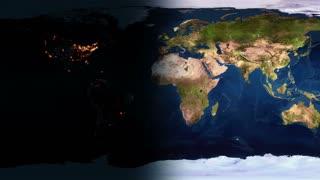 Global 0701: Night falls on an a flat planar planet Earth (Loop).