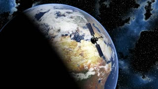 Global 0802: Satellites in orbit around a rotating planet Earth in the heavens (Loop).