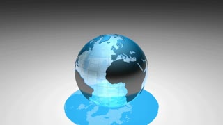 Global 0805: A blue transparent planet Earth globe turns against a graduated background (Loop).