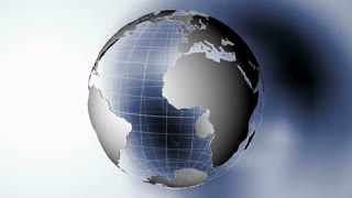 Global 0810: A transparent planet Earth casts a shadow on a white background (Loop).