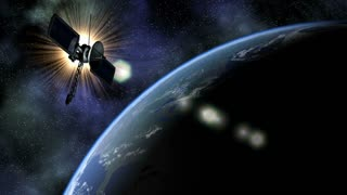 Global 0812: The planet Earth rotates under a satellite in space (Loop).