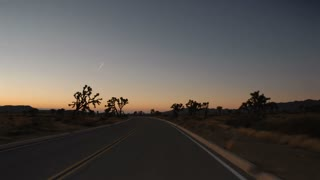 Highway 0305: A time lapse drive down a Joshua Tree highway as night falls.