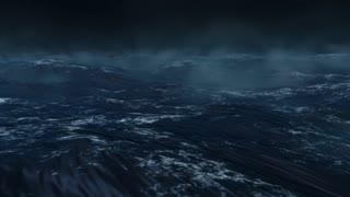 Oceanic 0103: Ocean white caps ripple in a dark misty night (Loop).