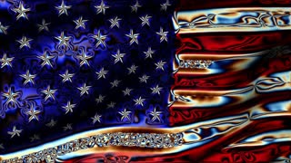Old Glory 0105: A psychedelic American flag waves in the breeze (Loop).
