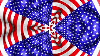 Old Glory 0107: A kaleidoscopic American flag waves in the breeze (Loop).
