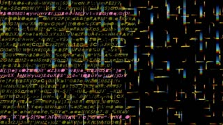 Text and Grids 0211: Letters, numbers, symbols colored lights move on a black background (Video Loop).