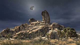 The Heavens 0305: A full moon and stars in a night sky over a giant rock formation (Loop).