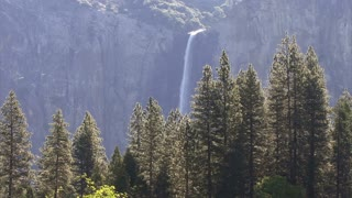 The River 0312: A waterfall in forested Yosemite valley.