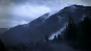 Time Lapse 0504: Misty time lapse clouds blanket a pine tree forest and mountain.
