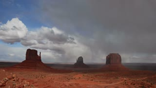 Time Lapse 0510: Time lapse clouds cross Monument Valley National Monument in Utah.