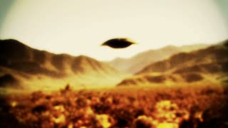 UFO 002: Retro footage of a UFO flying saucer in the desert.