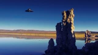 UFO 004: A UFO flies over Mono Lake.