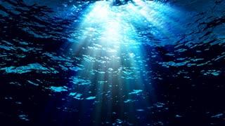 Underwater light filters down through blue water (Loop).