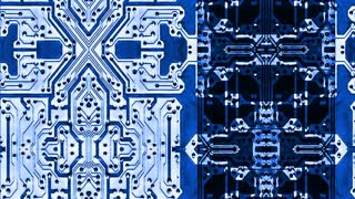 Video Background 1014: Intersecting stylized blue circuit boards (Loop).