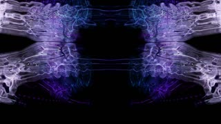 Video Background 1083: Abstract Rorschach imagery forms and flows (Loop).