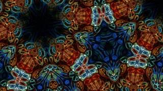 Video Background 1173: Abstract kaleidoscopic forms pulse, ripple and flow (Loop).