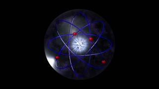 Video Background 1349: Electrons encircle an atom nucleus (Loop).