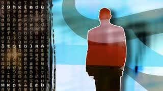 Video Background 2214: A digital data stream, a business man, a computer.