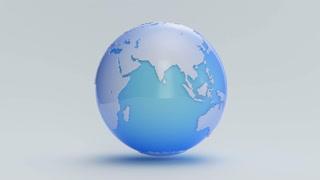 A blue Earth globe rotates on a white cyc (Loop).