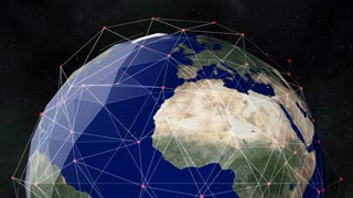 A global network surrounds the Planet Earth (Loop).