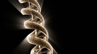A rotating DNA strand with light effects (Loop).