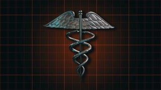 Caduceus 105: The Caduceus medical symbol rotating on a dark orange grid (Loop).