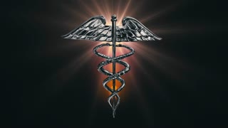 Caduceus 106: The Caduceus medical symbol rotating on a golden lens flare (Loop).