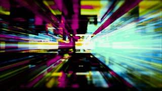 Data Storm 0515: Traveling through a maze of flickering high energy light streaks (Loop).