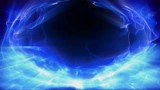 Radial waves of fractal blue light shimmer and shine (Loop).