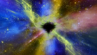 Space 2319: Light, stars and galaxies stream into a black hole in space (Loop).