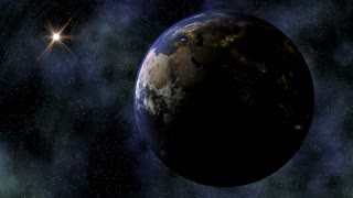 The Planet Earth rotates in space from day into night and city lights turn on (Loop).