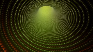 Tunnel Vision 105: Traveling down an abstract golden hooped tunnel (Loop).