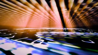 Video Background 2382: A digital data floor and ceiling with light beams (Loop).