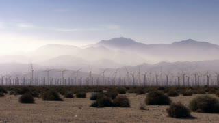 Wind Power 0101: Hundreds of windmills turn in the eerily misted California desert.