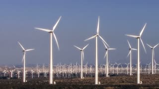 Wind Power 0103: Hundreds of windmills turn in the California desert.