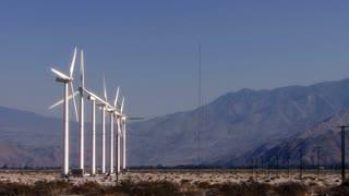 Wind Power 0105: Windmills turn in the sunny California desert.