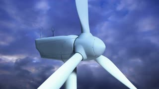 Wind Turbine 105: A wind turbine turns on blue time lapse clouds (Loop).