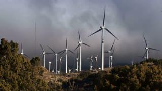 Wind Turbine 3013: Wind turbines turn in the Tehachapi Pass Wind Farm, California.