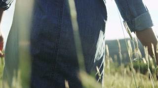 close up of girls hands as she walks through field of tall grass