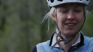 Close up of woman in biking gear