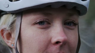 Close up of woman in biking helmet