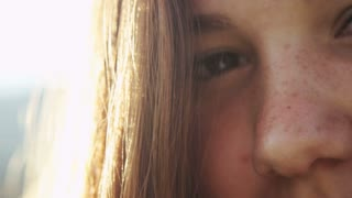close up of young girls face
