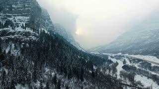 drone shot of snow covered desert