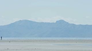 Man walks on beach next to lake