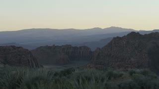 slow motion panning shot of desert landscape