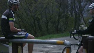 Couple taking a break from road biking